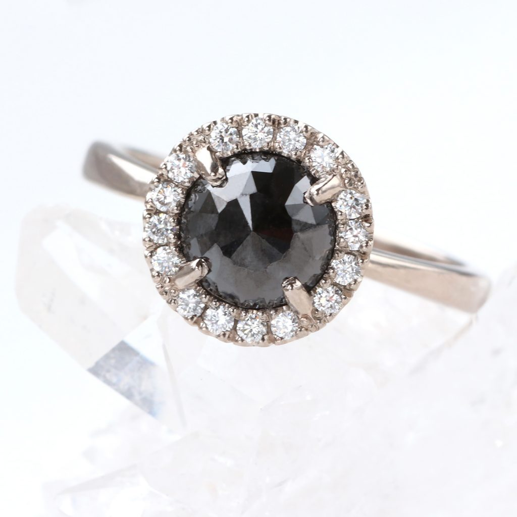 Tapered Halo Black Diamond Engagement Ring