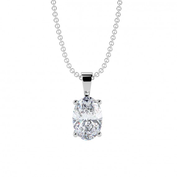 Oval Shaped Solitaire Diamond Necklace