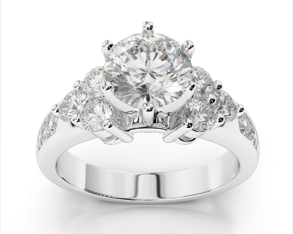 Clustered Side Three Stone Diamond Engagement Ring